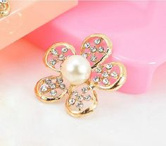 1pcs Kawaii Alloy Pearls Rhinestones Floral Flat Back Cabochon Decoden Accessories/DIY Cell Phone Case Deco Den/ Jewelry Making/Embellshment