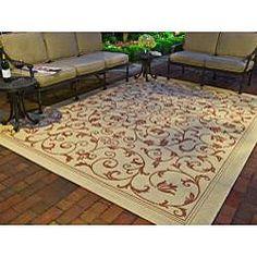 Indoor/ Outdoor Resorts Natural/ Terracotta Rug (7'10 Square)