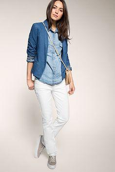 Esprit - Weiße Stretch-Jeans mit breitem Bund im Online Shop kaufen
