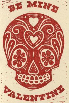 Five Linocut Skull Valentine Prints By ManEatingFlower On Etsy