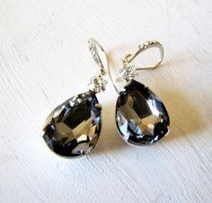 Swarovski Black Diamond Earrings with Rhinestone Encrusted Ear Wires