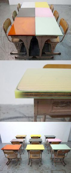 """Japanese archite ture firm Studio Schemata created flat surfaces on these vin­tage school desks by pouring color epoxy on the top board, which was uneven due to deterioration and scribbling. Each desk retains its individuality, how­ever, through the use of translucent color in the epoxy–deep points are mir­rored by dense colors and shallow points by more transparent shades."""