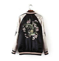 Reversible Satin Embroidered Bomber Jacket Women Baseball Coat Floral Embroidery | eBay