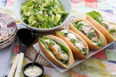 Salmon Po' Boy Sandwiches with Remoulade Sauce & Chopped Salad. Visit https://www.blueapron.com/ to receive the ingredients.