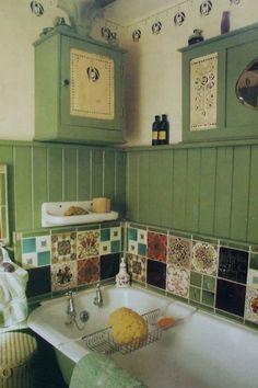 Funky Bathroom, Design Bathroom, Bathroom Ideas, Small Bathroom, Green Bathrooms Designs, Aesthetic Room Decor, Dream Apartment, Interior Exterior, Dream Decor