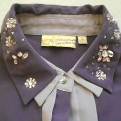 Purple Sparkly Collar Vera Wang Shirt This shirt has a few missing gems but still looks awesome on! It needs a new home and is at an amazing price!  Feel free to share, like, or negotiate! ? Vera Wang Tops Blouses