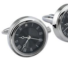 Pırlantalı Saat Çelik Kol Düğmesi