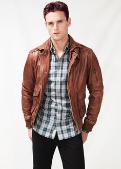 H.E. BY MANGO - Leather aviator jacket #Menswear #FW14 #Leather