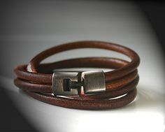 Bronze and Leather Double Wristband