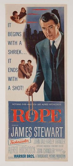 Rope directed by Alfred Hitchcock James Stewart, John Dall and Farley Granger......Uploaded By  www.1stand2ndtimearound.etsy.com