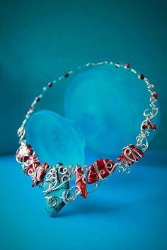 Freeform Wire Art Jewelry Statement Necklace