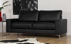 Baltimore Black Leather Sofa