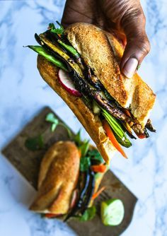 Roasted Eggplant Banh Mi by chocolateforbasil: A vegan version of a Vietnamese Banh Mi sandwich, stuffed with roasted and marinated eggplant and fresh crisp cut veggies. Veggie Recipes, Asian Recipes, Whole Food Recipes, Vegetarian Recipes, Cooking Recipes, Healthy Recipes, Vegetarian Sandwiches, Vegetarian Bahn Mi, Vegan Eggplant Recipes