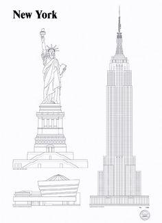 New York Landmarks by Studio Esinam   Poster from theposterclub.com