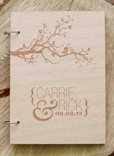 "Custom Wedding guest book wood rustic wedding guest book album bridal shower engagement anniversary- ""Love Birds Tree"". $44.00, via Etsy."
