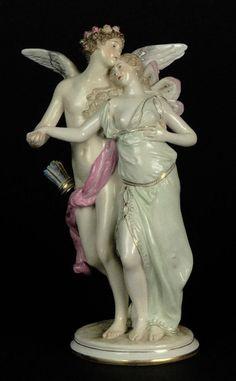 19th Century Meissen Romantic Porcelain Figural Group