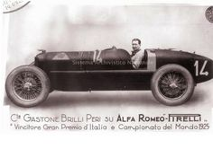 Count Gastone Brilli-Perri with his invincible Alfa Romeo P2, 2-liter, 8-cylinder car that won the 1925 Italian Grand Prix. He died in a racing accident in 1930.