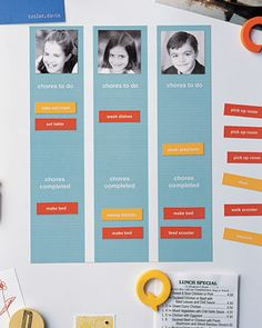 Job Chart Are you tired of nagging your kids about chores -- and hearing the same excuses? A magnetic job chart keeps track of who has done what. How to Make the Job Chart Chore Chart Kids, Chore Charts, Roommate Chore Chart, Behavior Charts, Martha Stewart Home, Job Chart, Chore List, Charts For Kids, Organization Hacks