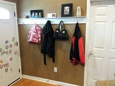Shelf and hooks behind door!