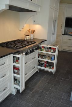 Kitchen Renovation Ideas - Love the pull-outs underneath the stove!