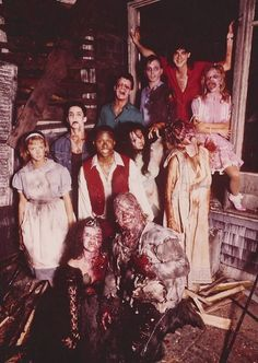 """Behind the scenes with the gang from """"Night of the Demons"""" (1988)."""