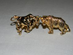 Vintage FENWICK  SAILORS Bull and Bear Stock Market sterling silver cufflinks with vermeil gold overlay. (12g)  (Sold)