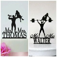 Marrying a bodybuilder so we're deciding on a custom cake topper!! Can't decide which one though #wedding #customwedding #caketopper
