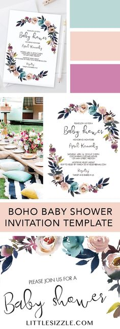 Boho themed baby shower ideas by LittleSizzle. Click through to instantly download and personalize your own floral baby shower invitation template to make the perfect announcement of your girl baby shower. With its gorgeous watercolor pink and purple flowers, this baby shower invite is perfect to celebrate the arrival of a baby girl in spring or summer. #babyshowerideas #babyshowerthemes #boho #bohemian #spring #summer #floral #babyshowerinvitation #DIY #printable