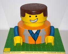 """""""Emmet"""" LEGO movie - Cake by Sugar Addict by Alexandra Alifakioti Lego Film, Lego Movie Cake, Lego Movie Birthday, Cartoon Birthday Cake, Themed Birthday Cakes, Birthday Cake Toppers, Birthday Fun, Birthday Ideas, Emmet Lego"""