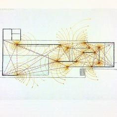"Paul Rudolph, drawing of the Barcelona Pavilion (1986). ""Circular flow of space at ends of panels."" #minimalism"