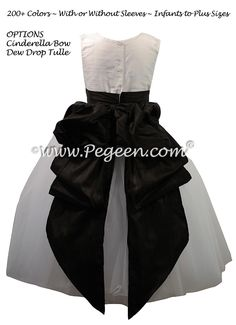 Flower Girl Dresses with a Cinderella Bow in Antique White and Black Silk and Tulle by Pegeen