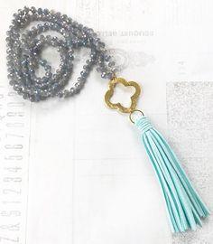Beaded Tassel Necklace, Boho Tassel Necklace, Crystal Statement Necklace, Knotted Tassel Necklace, Clover Necklace by FlowersInMyHairShop on Etsy https://www.etsy.com/listing/538244161/beaded-tassel-necklace-boho-tassel