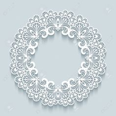 Illustration of Paper lace background, vector round vignette, ornamental lacy frame vector art, clipart and stock vectors.