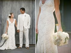 Adore her dress, wonder if I can pull off lace. And they have one of the coolest love stories ever!