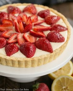 A luscious, easy to make Strawberry Lemon Tart made with lemon curd and topped with sweet, sliced berries