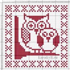 sova-shema1 Cross Stitch Bird, Simple Cross Stitch, Cross Stitching, Dishcloth Knitting Patterns, Knitting Charts, Crochet Patterns, Cross Stitch Alphabet Patterns, Crochet Owls, Owl Patterns