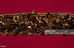 Gold diadem with garnets and carnelians, detail, from the Tomb of the Ori, Canosa, Apulia, Italy. Hellenistic civilisation. Taranto, Museo Archeologico Nazionale