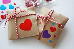 Delicious things come in small packages, like these chocolate covered Valentine sunflower seeds. I love these mini kraft bags. They are perfect for a bite
