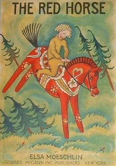 Scandinavian Child Riding Red Horse Counted Cross Stitch Chart Pattern