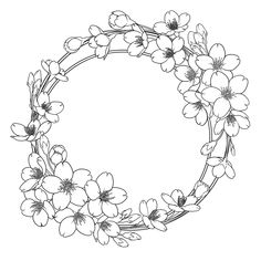 Hand Embroidery Patterns Free, Flower Embroidery Designs, Art Drawings Sketches, Cute Drawings, Free Christmas Coloring Pages, Pinturas Disney, Wreath Drawing, Drawing Frames, Coloring Book Art