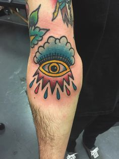 She's red but all seeing eye in the ditch #traditional #tattoo #traditionaltattoo #eye #sleeve #bold #ink #color