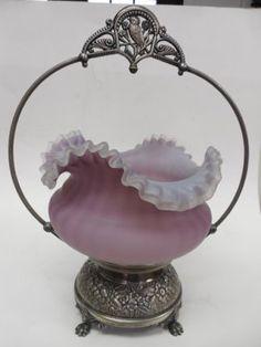 """Victorian Glass """"Bride's Basket"""""""
