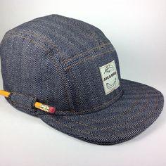 ae4c84860fd Handmade 5 panel cap. Indigo Herringbone Denim hat with PENCIL Pocket!  (45.00 USD