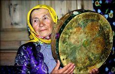 Elder Turkish Grandmother, shaman on her frame drum, via slavicfolkloredreams on facebook