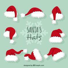 Santa claus hats Free Vector