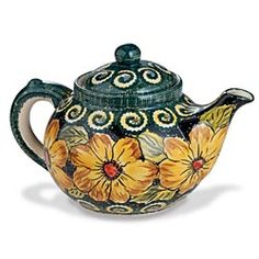 Polish Pottery Sunflower Teapot