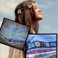 Embroidered floral denim jean shorts Summer shorts Paris blues jean shorts size 3 embroidered EUC stain free smoke free distressed look near bottom and embroidered perfect for beach Paris Blues Shorts