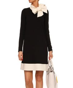 Look what I found on #zulily! Black & White Bow Dress #zulilyfinds