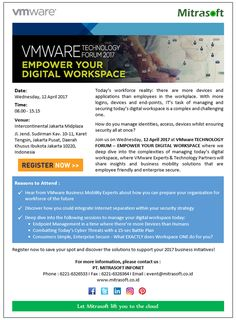 #MitrasoftEvent #VMware TECHNOLOGY FORUM - EMPOWER YOUR DIGITAL WORKSPACE (12 April 2017) Agenda: http://po.st/VMwareTechForum2017Agenda Registration: http://po.st/VMwareTechForum2017Reg Like us: https://www.facebook.com/pt.mitrasoft.infonet Follow us: https://twitter.com/Mitrasoft_PT https://www.linkedin.com/company/mitrasoft-infonet