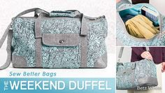 Sew Better Bags - The Weekend Duffel Sew beautifully constructed duffel bags that stand up to travel and stand out with custom style. Build your sewing skills to create bags as fun as they are functional. Duffle Bag Patterns, Bag Patterns To Sew, Sewing Patterns, Fabric Patterns, Sac Week End, Bag Pattern Free, Patchwork Bags, Crazy Patchwork, Patchwork Designs